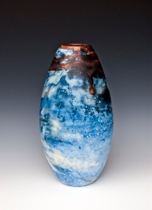 """Aquamarine"" Vase by ceramic artists Pierre Bounau, Studio 40, Spanish Village Art Center."