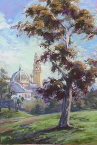 """Centennials"" Original Oil Painting of 100 year old tree in Balboa Park. Artist: Dot Renshaw, Spanish Village, Balboa Park."